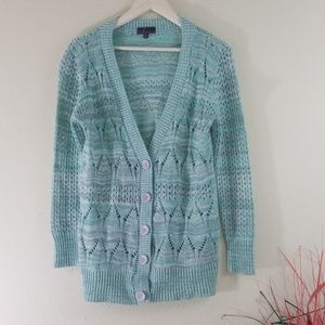 Takeout Green & White Chunky Knit Cardigan